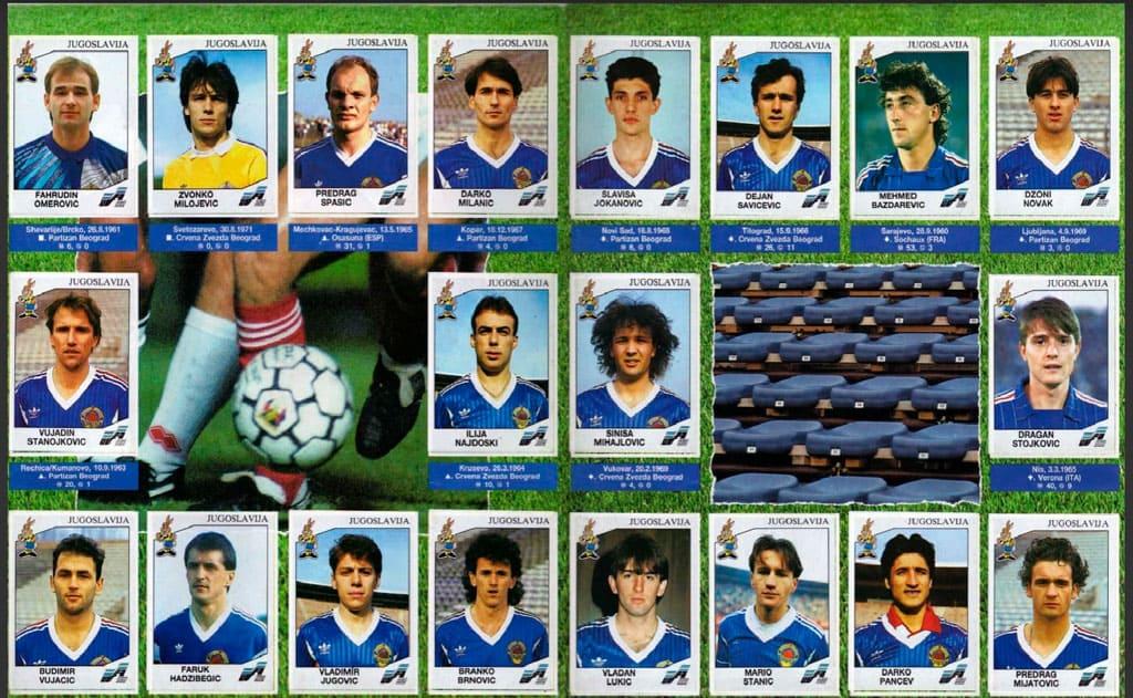 Seleção iugoslava no álbum de figurinhas da Euro 92